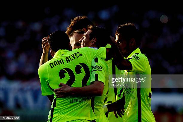 Several players of Barcelona Celebrates a goal during the Spanish League 2014/15 match between Atletico de Madrid and Barcelona at Vicente Calderon...