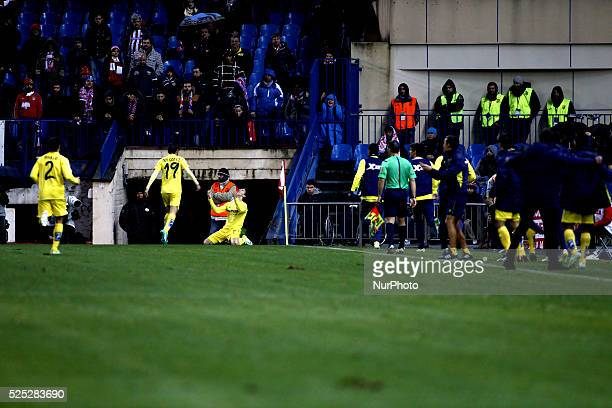 Several players of Villarreal Celebrates a goal during the Spanish League 2014/15 match between Atletico de Madrid and Villareal CF, at Vicente...