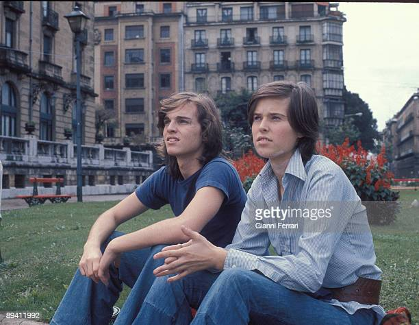 MadridSpain 1973 Miguel Bose and its sister Paola in the filming of the movie Vera