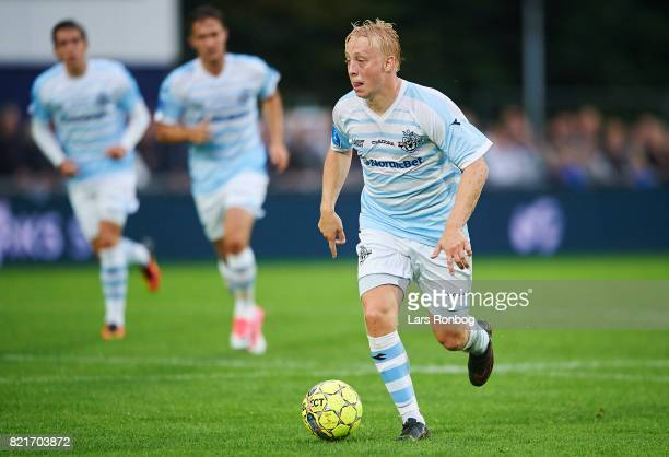 Mads Aaquist of FC Helsingor controls the ball during the Danish Alka Superliga match between FC Helsingor and OB Odense at Helsingor Stadion on July...