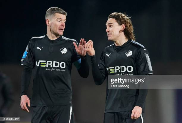 Mads Agesen speaks to Erik Marxen of Randers FC after the Danish Alka Superliga match between AC Horsens and Randers FC at CASA Arena Horsens on...