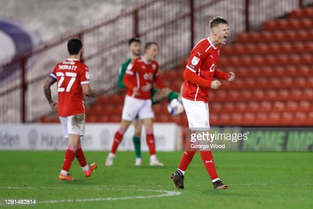 Mads Andersen of Barnsley celebrates victory following the Sky Bet Championship match between Barnsley and Preston North End at Oakwell Stadium on...