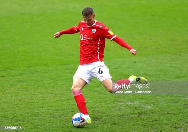 Mads Andersen of Barnsley controls the ball during the Sky Bet Championship match between Barnsley and Norwich City at Oakwell Stadium on May 08,...