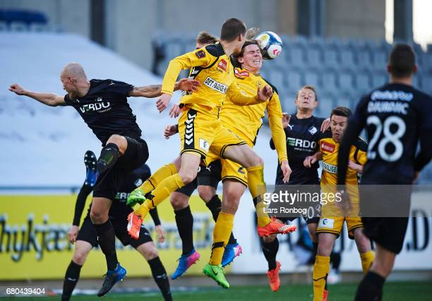 Mads Bech of AC Horsens touching the ball with a header during the Danish Alka Superliga match between AC Horsens and Randers FC at Casa Arena on May...