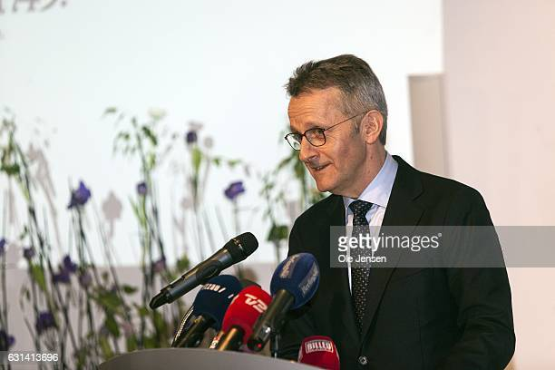 Mads Bryde chair of the 'Berlinske Foundation' speaks during the award presentation speech at The Berlingske Media house on January 10 2017 in...