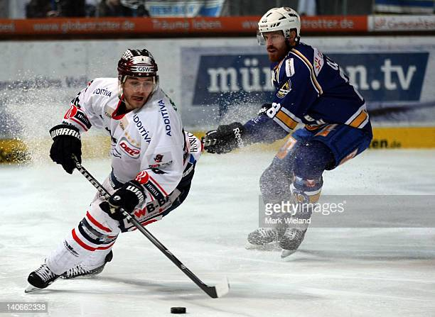 Mads Christensen of Eisbaeren Berlin in action during the DEL match between EHC Muenchen and Eisbaeren Berlin on March 4 2012 in Munich Germany