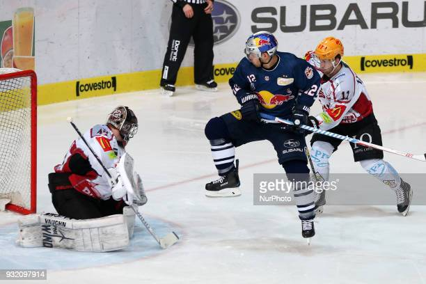 Mads Christensen of Red Bull Munich during the DEL playoff match between the EHC Red Bull Munich and Pinguins Bremerhaven on March 14th 2018 in...