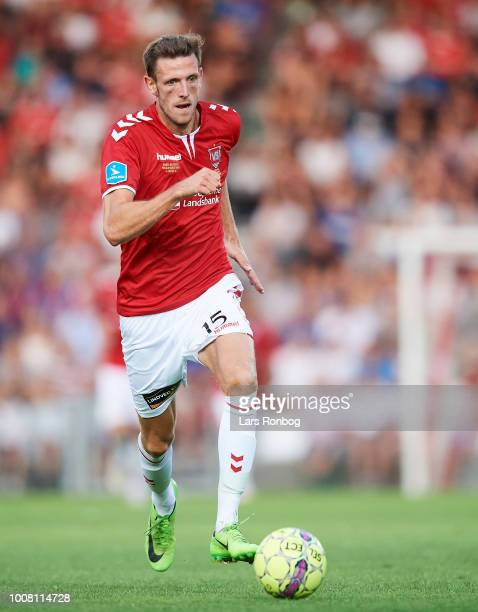 Mads Greve of Vejle Boldklub controls the ball during the Danish Superliga match between Vejle Boldklub and AGF Aarhus at Vejle Stadion on July 30...