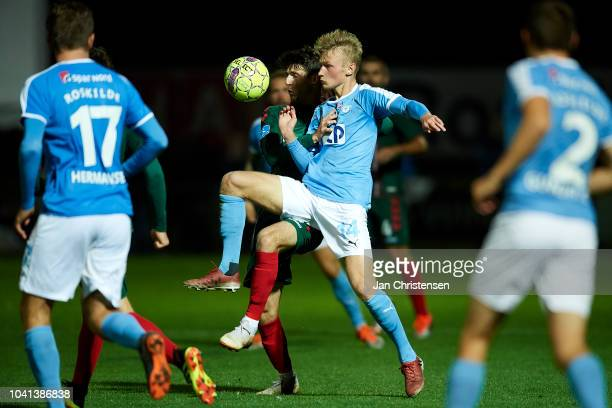 Mads Hoyer Julo of FC Roskilde in action during the Danish SYDBANK Pokalen Cup match between FC Roskilde and AaB Aalborg at Roskilde Idratspark on...