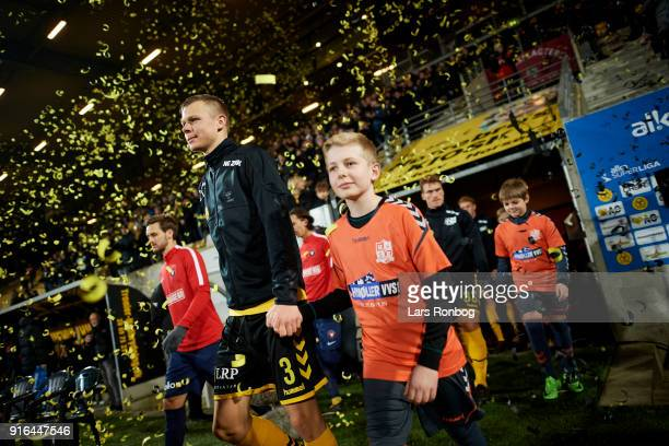 Mads Juel Andersen of AC Horsens walking on to the pitch prior to the Danish Alka Superliga match between AC Horsens and FC Midtjylland at CASA Arena...