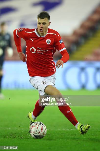 Mads Juel Andersen of Barnsley during The Emirates FA Cup Fifth Round match between Barnsley and Chelsea at Oakwell Stadium on February 11, 2021 in...