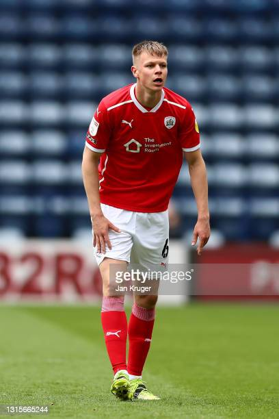 Mads Juel Andersen of Barnsley during the Sky Bet Championship match between Preston North End and Barnsley at Deepdale on May 01, 2021 in Preston,...