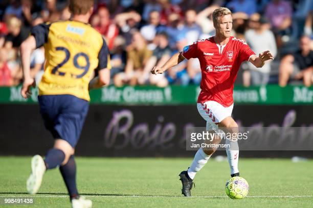 Mads Lauritsen of Vejle Boldklub in action during the Danish Superliga match between Vejle Boldklub and Hobro IK at Vejle Stadion on July 13 2018 in...