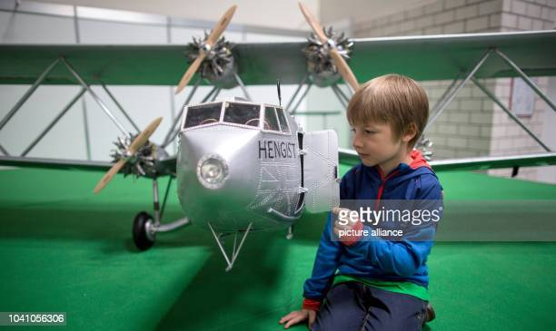 Mads looking at the plane model 'Ju 52 3m' at the modelling fair 'Intermodellbau' in Dortmund Germany 19 April 2016 The world's biggest fair for...