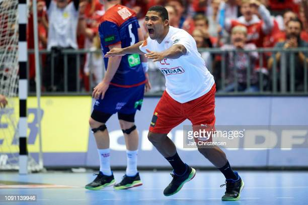 Mads Mensah of Denmark celebrate after goal during the IHF Men's World Championships Handball Final between Denmark and Norway in Jyske Bank Boxen on...