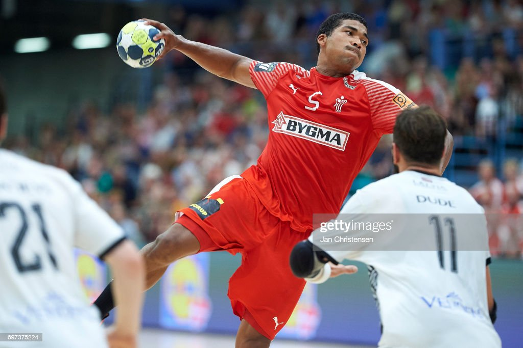 Mads Mensah of Denmark in action during the European Championship Croatia 2018 Playoff match between Denmark and Latvia at Sydbank Arena on June 18, 2017 in Kolding, Denmark.