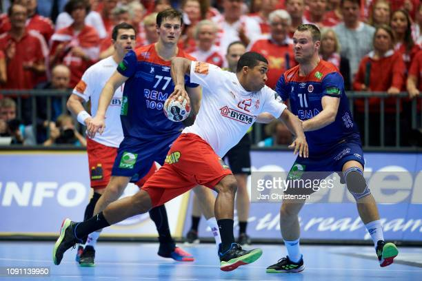 Mads Mensah of Denmark in action during the IHF Men's World Championships Handball Final between Denmark and Norway in Jyske Bank Boxen on January...