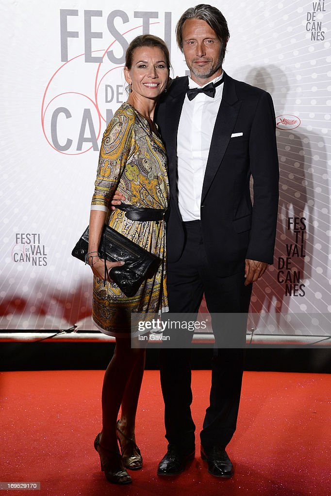 Mads Mikkelsen (R) and Hanne Jacobsen attend he Palme D'Or Winners dinner during The 66th Annual Cannes Film Festival at Agora on May 26, 2013 in Cannes, France.