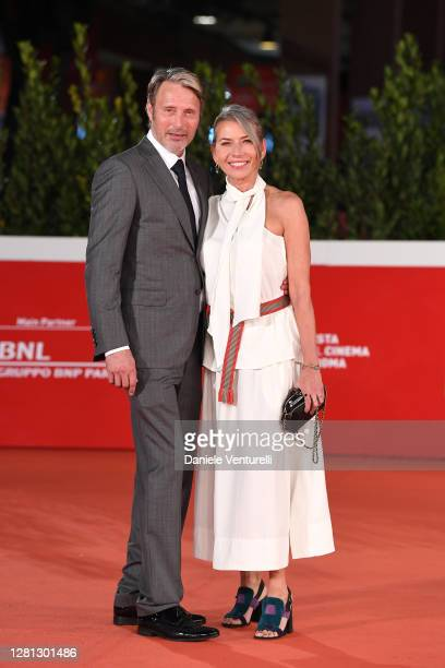 """Mads Mikkelsen and Hanne Jacobsen attend the red carpet of the movie """"Druk"""" during the 15th Rome Film Festival on October 20, 2020 in Rome, Italy."""