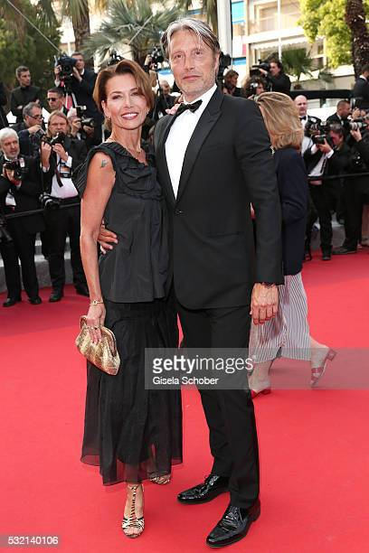 Mads Mikkelsen and Hanne Jacobsen attend The Unknown Girl Premiere during the 69th annual Cannes Film Festival at the Palais des Festivals on May 18...