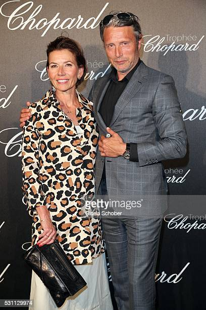 Mads Mikkelsen and his wife Hanne Jacobsen arrive at the Chopard Trophy Ceremony at the annual 69th Cannes Film Festival at Hotel Martinez on May 12...