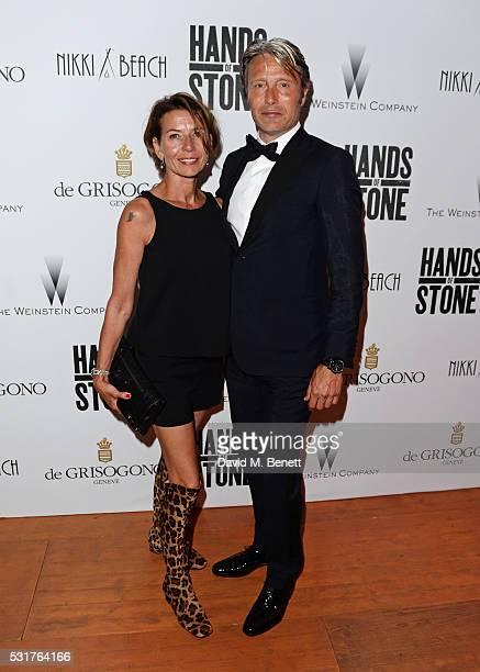 Mads Mikkelsen and wife Hanne Jacobsen attend The Weinstein Company's HANDS OF STONE After Party In Partnership With De Grisogono At Nikki Beach...