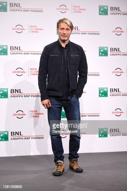 """Mads Mikkelsen attends the photocall of the movie """"Druk"""" during the 15th Rome Film Festival on October 20, 2020 in Rome, Italy."""