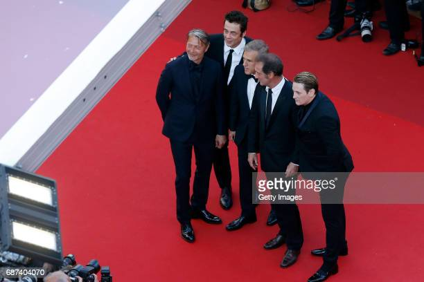 Mads Mikkelsen Benicio del Toro Christoph Waltz Mads Mikkelsen Vincent Lindon and Benoit Magimel attend the 70th Anniversary screening during the...