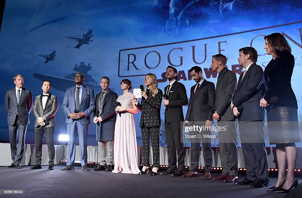 Mads Mikkelsen, Donnie Yen, Forest Whitaker, Ben Mendelsohn, Felicity Jones, Edith Bowman, Diego Luna, Riz Ahmed, Alan Tudyk, Gareth Edwards and Kathleen Kennedy attend the exclusive screening of Lucasfilm's highly anticipated, first-ever, standalone Star Wars adventure 'Rogue One: A Star Wars Story' at the BFI IMAX on December 13, 2016 in London, England.