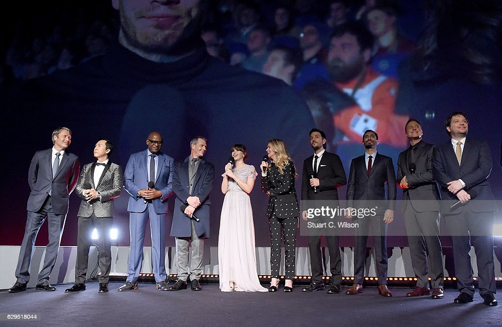Mads Mikkelsen, Donnie Yen, Forest Whitaker, Ben Mendelsohn, Felicity Jones, Edith Bowman, Diego Luna, Riz Ahmed, Alan Tudyk and Gareth Edwards attend the exclusive screening of Lucasfilm's highly anticipated, first-ever, standalone Star Wars adventure 'Rogue One: A Star Wars Story' at the BFI IMAX on December 13, 2016 in London, England.