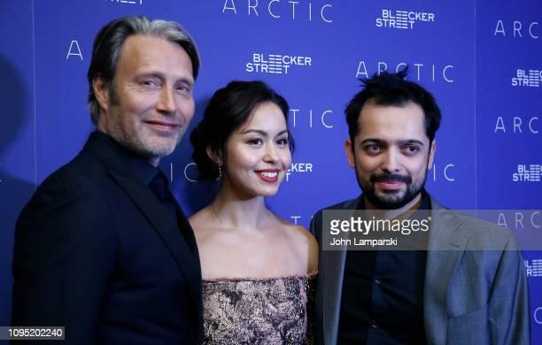 Mads Mikkelsen Maria Thelma Smaradottir and Joe Penna attend 'Arctic' New York Screening at Metrograph on January 16 2019 in New York City