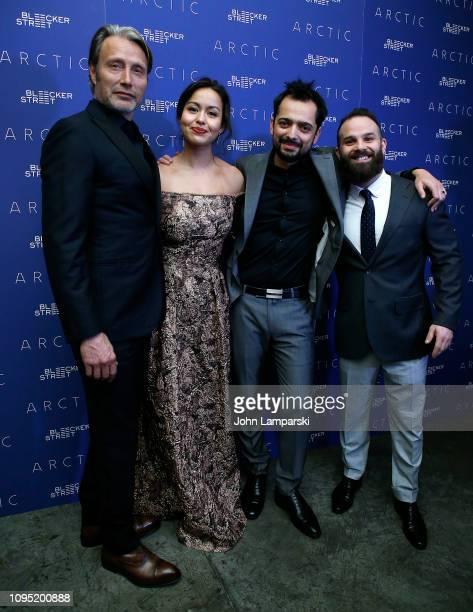 Mads Mikkelsen Maria Thelma Smaradottir Joe Penna and Ryan Morrison attend 'Arctic' New York Screening at Metrograph on January 16 2019 in New York...
