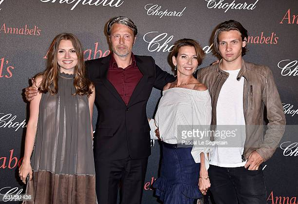 Mads Mikkelsen poses with wife Hanne Jacobsen and children Carl Jacobsen Mikkelsen and Viola Jacobsen Mikkelsen at the Chopard Gent's Party at...