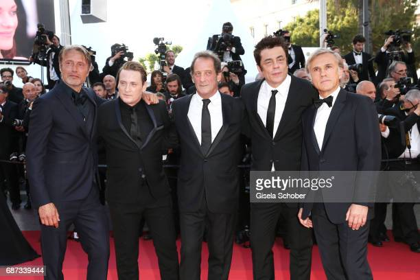 Mads Mikkenson Benoit Magimel Vincent Lindon Benicio Del Toro and Christoph Waltz attend the 70th Anniversary screening during the 70th annual Cannes...