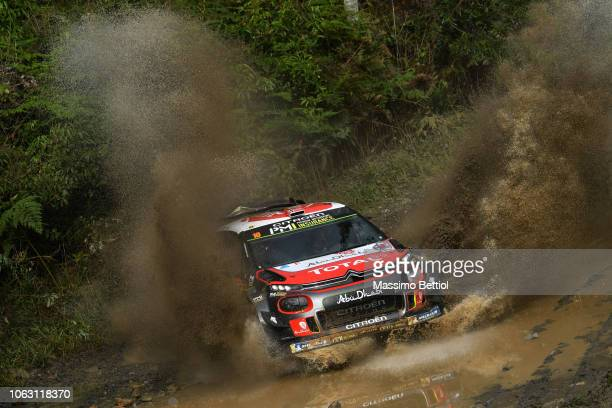 Mads Ostberg of Norway and Eriksen Torstein of Norway compete in their Citroen Total Abu Dhabi WRT Citroen C3 WRC during Day Three of the WRC...