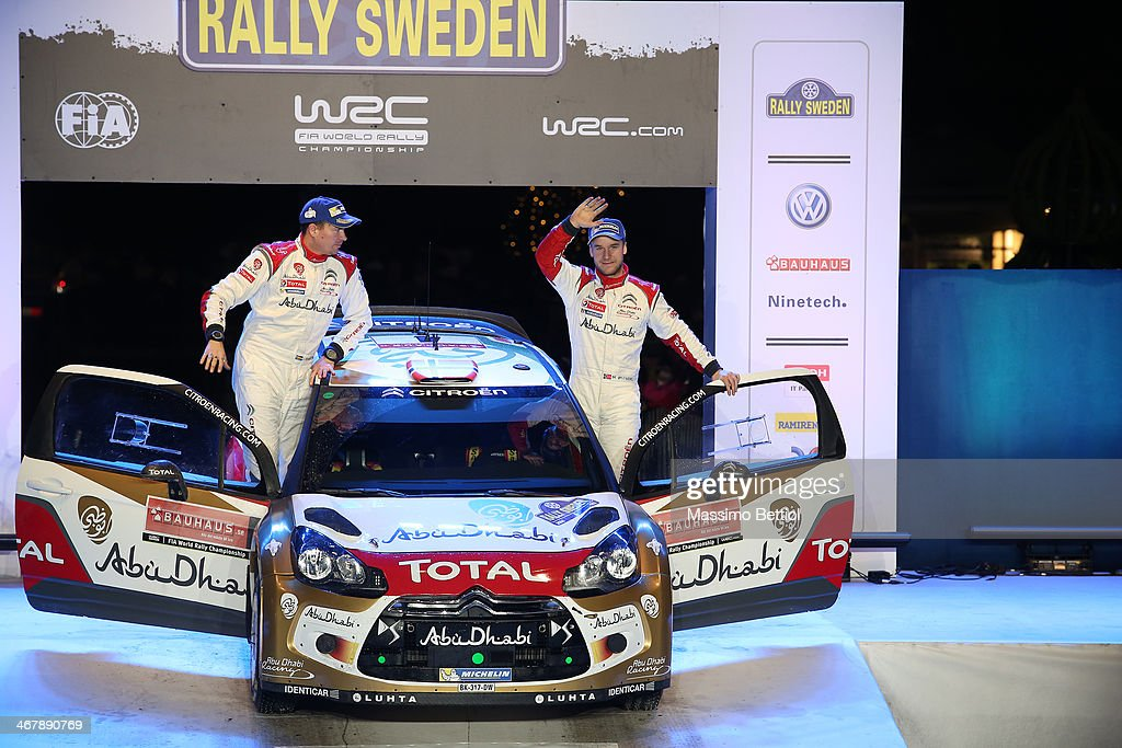 Mads Ostberg of Norway and Jonas Andersson of Sweden celebrate their third position in the final podium during Day Three of the WRC Sweden on February 8, 2014 in Karlstad, Sweden.