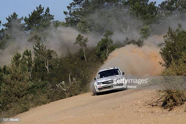 Mads Ostberg of Norway and Jonas Andersson of Sweden compete in their Subaru Impreza during Leg 3 of the WRC Rally of Portugal on May 30 2010 in the...