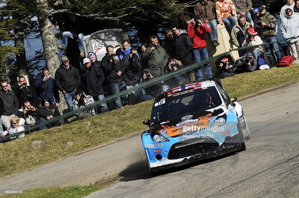 Mads Ostberg of Norway and Jonas Andersson of Sweden compete in their Adapta WRT Ford Fiesta RS WRC during Day One of the WRC Rally of France on October 05, 2012 in Strasbourg, France.