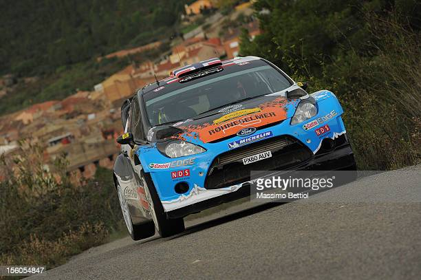 Mads Ostberg of Norway and Jonas Andersson of Sweden compete in their Adapta WRT Ford Fiesta RS WRC during Day Three of the WRC Spain on November 11...