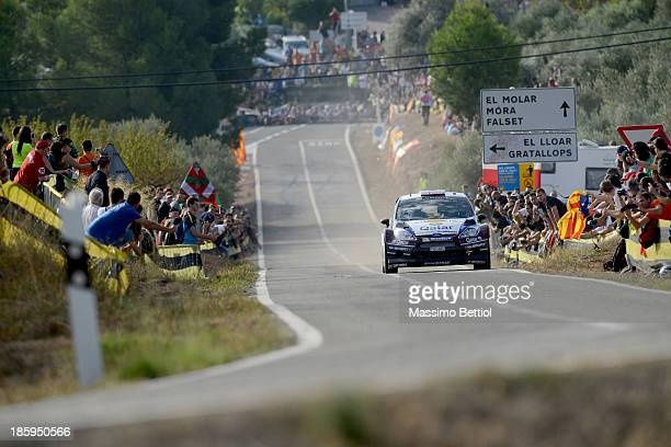 Mads Ostberg of Norway and Jonas Andersson of Sweden compete in their Qatar MSport WRT Ford Fiesta RS WRC during Day Two of the WRC Spain on October...