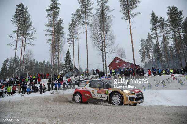 Mads Ostberg of Norway and Jonas Andersson of Sweden compete in their Citroen Total Abu Dhabi WRT Citroen DS3 WRC during Day One of the WRC Sweden on...