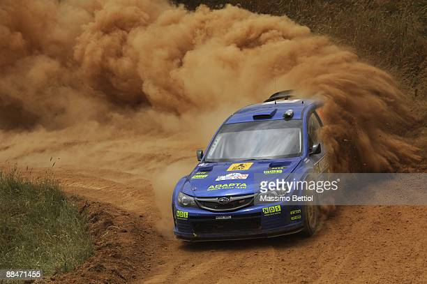 Mads Ostberg of Norway and Jonas Andersson of Sweden compete in their Subaru Impreza during Leg 2 of the WRC Acropolis Rally of Greece on June 13...
