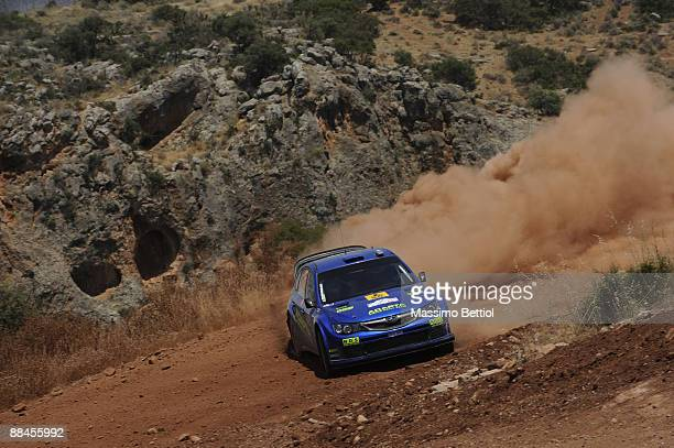 Mads Ostberg of Norway and Jonas Andersson of Sweden in action in the Subaru Impreza during Leg 1 of the WRC Acropolis Rally of Greece on June 12...