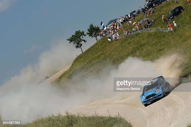 Mads Ostberg of Norway and Ola Floene of Norway compete in their MSport WRT Ford Fiesta RS WRC during Day Two of the WRC Poland on July 2 2016 in...