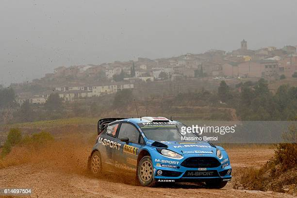 Mads Ostberg of Norway and Ola Floene of Norway compete in their MSport WRT Ford Fiesta RS WRC during Day One of the WRC Spain on October 14 2016 in...
