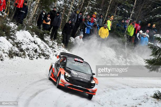 Mads Ostberg of Norway and Ola Floene of Norway compete in their MSport WRT Ford Fiesta WRC during the Shakedown of the WRC Sweden on February 9 2017...