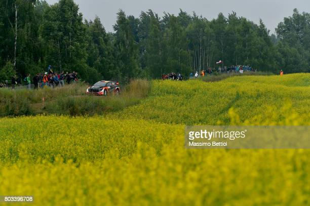 Mads Ostberg of Norway and Ola Floene of Norway compete in their MSport WRT Ford Fiesta WRC during the Shakedown of the WRC Poland on June 29 2017 in...