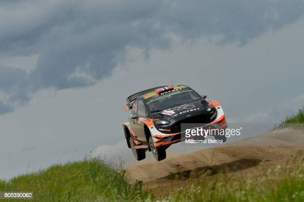 Mads Ostberg of Norway and Ola Floene of Norway compete in their MSport WRT Ford Fiesta WRC during Day Two of the WRC Poland on July 1 2017 in...