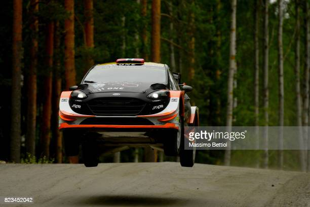 Mads Ostberg of Norway and Torstein Eriksen of Norway compete in their MSport WRT Ford Fiesta WRC during the Shakedown of the WRC Finland on July 27...