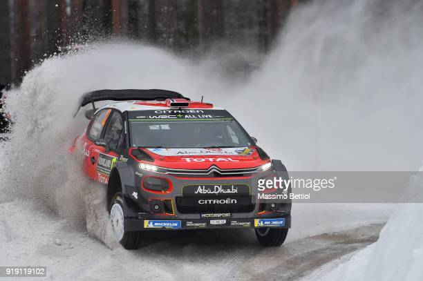Mads Ostberg of Norway and Torstein Eriksen of Norway compete in their Citroen Total Abu Dhabi WRT Citroen C3 WRC during Day One of the WRC Sweden on...